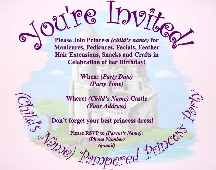 Pampered Princess Party E Vite